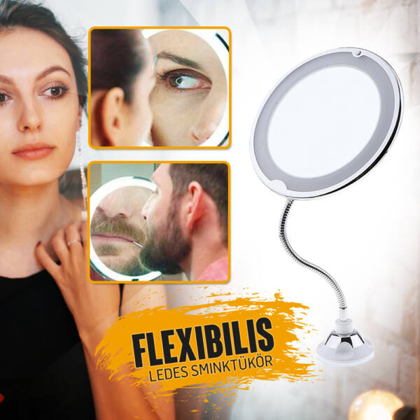 Flexibilis nyakú ledes sminktükör